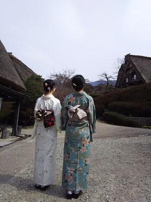 下呂温泉合掌村を着物で散策