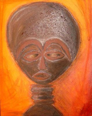afrikanische oder außerirdische Impressionen, Acryl, Pastellkreide, Sand, auf Leinwand (Rand nicht bearbeitet) 50 x 40 cm, Winter 2000