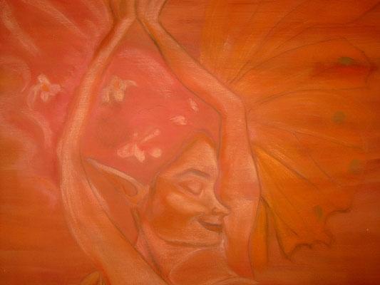 Elfenwonne, Acryl, Pastellkreide, auf Leinwand, 120 X 100 cm