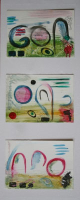Dreierlei- Kombinationsansicht: Acryl, mixed media auf Ölmalkarton, November  2009