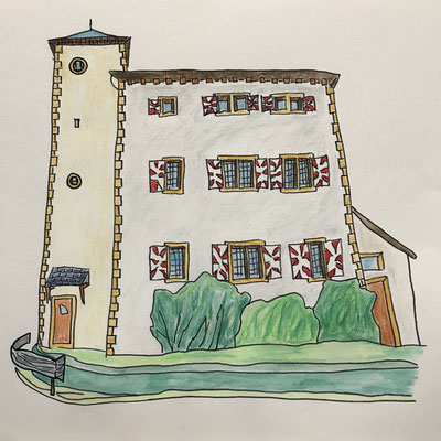CHATEAU DE LA PORTE DU SCEX, VOUVRY  Water-soluble colour wax pastels on canvas grain, ca. 42 x 56 cm