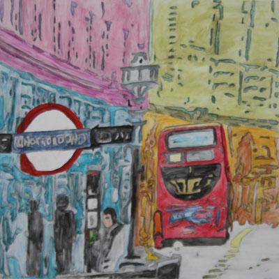 LONDON BUS  Water-soluble colour wax pastels on canvas grain, ca. 80 x 80 cm
