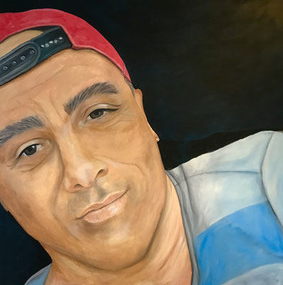 Selbstportrait, Ölfarbe, ca. 80 x 80 cm auf Leinwand