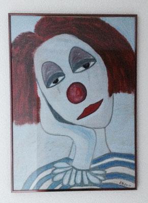 CLOWN NO 3  Acrylpainting on paper, ca. 50 x 70 cm