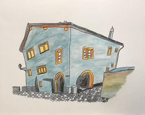 WALDENHAUS, NATERS  Water-soluble colour wax pastels on canvas grain, ca. 42 x 56 cm