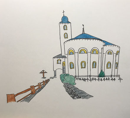 RUNDKIRCHE, SAAS BALEN  Water-soluble colour wax pastels on canvas grain, ca. 42 x 56 cm