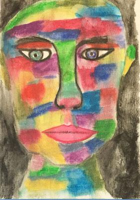 JUST A FACE  Acrylpainting on canvas grain, ca. 21 x 28 cm