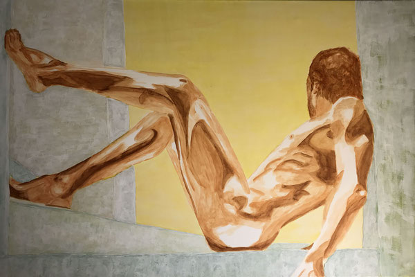NUDE MAN NO 3  Oilpainting on canvas, ca. 60 x 90 cm