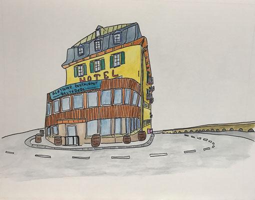 HOTEL BELVEDERE, FURKAPASS  Water-soluble colour wax pastels on canvas grain, ca. 42 x 56 cm
