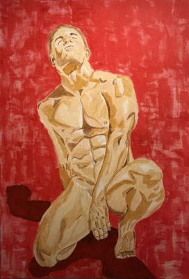 NUDE MAN NO 6  Oilpainting on canvas, ca. 60 x 90 cm