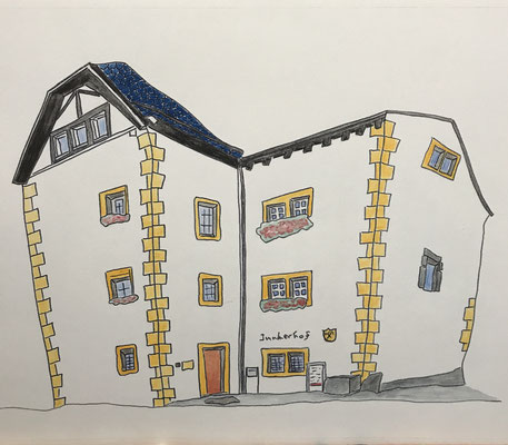 JUNKERHOF, NATERS  Water-soluble colour wax pastels on canvas grain, ca. 42 x 56 cm