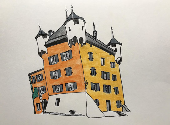 CHATEAU DES VIDOMNES, SIERRE  Water-soluble colour wax pastels on canvas grain, ca. 42 x 56 cm