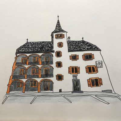 BURGENERHAUS IN VISP  Water-soluble colour wax pastels on canvas grain, ca. 42 x 56 cm