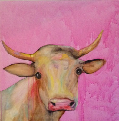 CALF ON PINK WALL  Acrylpainting on canvas, ca. 70 x 70 cm