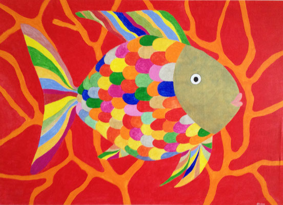 COLORED FISH  Acrylpainting on canvas, ca. 80 x 110 cm