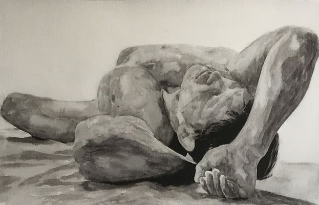 NUDE MAN NO 1  Oilpainting on canvas, ca. 60 x 90 cm
