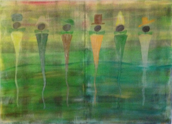 6 MEN WITH HAT  Acrylpainting on canvas, ca. 80 x 110 cm