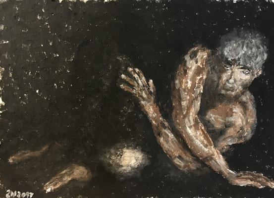 NUDY  Oilpainting on canvas grain, ca. 21 x 28 cm