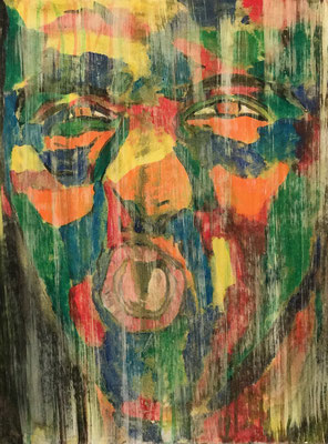 GRIMAS 6  Acrylpainting on canvas grain, ca. 42 x 56 cm