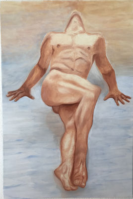 NUDE MAN NO 7  Oilpainting on canvas, ca. 60 x 90 cm
