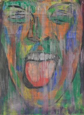 GRIMAS 1  Acrylpainting on canvas grain, ca. 42 x 56 cm