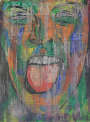 GRIMAS 1  Acrylpainting on canvas grain, ca. 42 x 56 cm