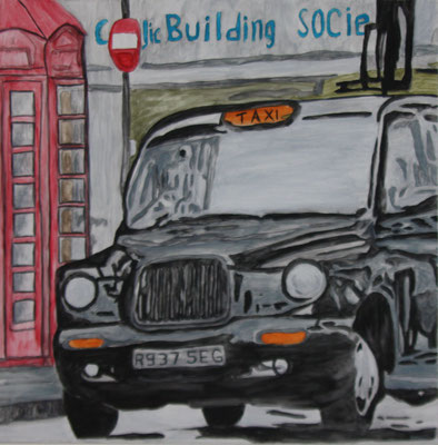 LONDON TAXI  Water-soluble colour wax pastels on canvas grain, ca. 80 x 80 cm