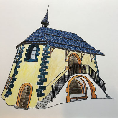 BEINHAUS IN NATERS  Water-soluble colour wax pastels on canvas grain, ca. 42 x 56 cm