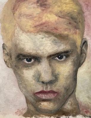 THE FACE  Oilpainting on canvas grain, ca. 21 x 28 cm