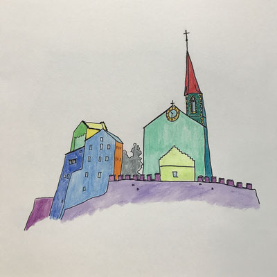 BURGKIRCHE IN RARON  Water-soluble colour wax pastels on canvas grain, ca. 42 x 56 cm