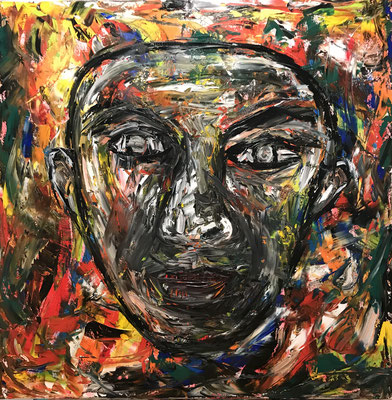 HEAD  Oilpainting on canvas, ca. 70 x 70 cm