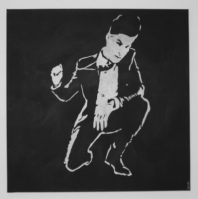MAN B/W NO 3  Acrylpainting on canvas, ca. 70 x 70 cm