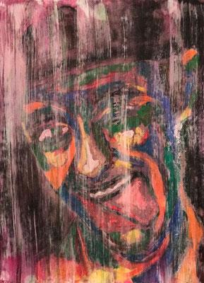 GRIMAS 2  Acrylpainting on canvas grain, ca. 42 x 56 cm