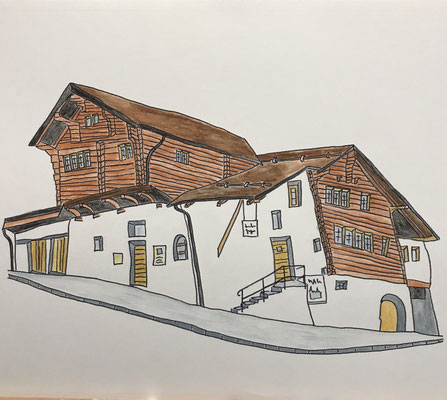 ZUMOFENHAUS, SALGESCH  Water-soluble colour wax pastels on canvas grain, ca. 42 x 56 cm