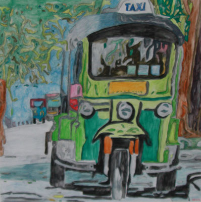 TUK TUK  Water-soluble colour wax pastels on canvas grain, ca. 80 x 80 cm