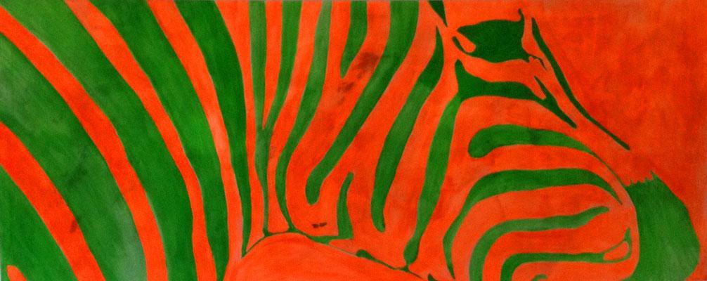 ZEBRA IN GREEN  Acrylpainting on canvas, ca. 80 x 190 cm