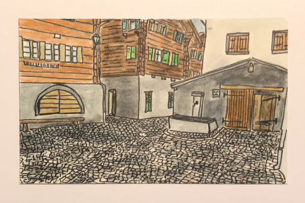 JUDENGASSE, NATERS  Water-soluble colour wax pastels on canvas grain, ca. 10 x 15 cm