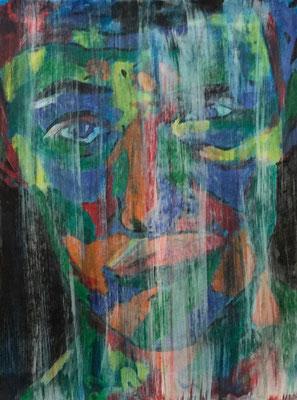 GRIMAS 4  Acrylpainting on canvas grain, ca. 42 x 56 cm
