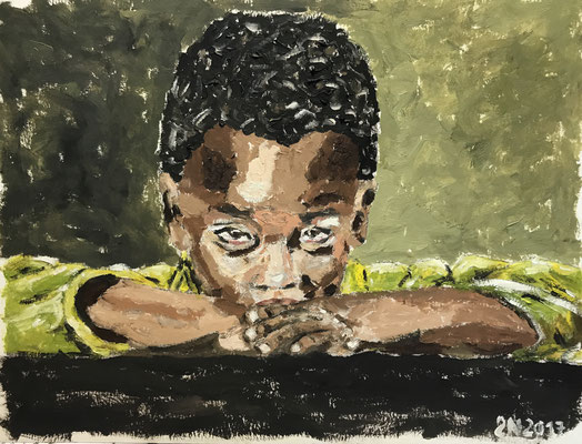 CHILD  Oilpainting on canvas grain, ca. 21 x 28 cm