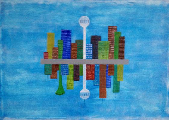 UPPER WORLD - LOWER WORLD  Acrylpainting on canvas, ca. 80 x 110 cm