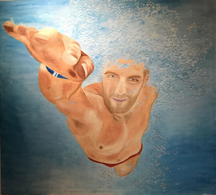 SWIMMER  Oilpainting on canvas, ca. 100 x 120 cm