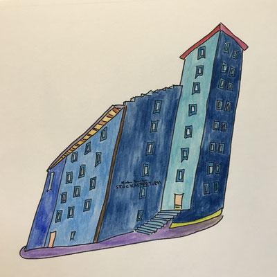 STOCKALPERTURM, GONDO  Water-soluble colour wax pastels on canvas grain, ca. 42 x 56 cm