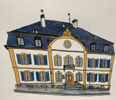 MAISON DE COURTEN, SIERRE  Water-soluble colour wax pastels on canvas grain, ca. 42 x 56 cm