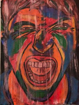 GRIMAS 5  Acrylpainting on canvas grain, ca. 42 x 56 cm