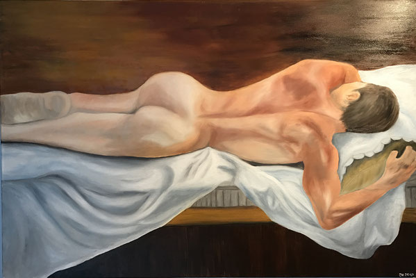 NUDE MAN NO 4  Oilpainting on canvas, ca. 60 x 90 cm