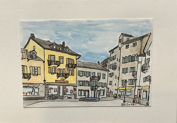 KAUFPLATZ IN VISP  Water-soluble colour wax pastels on canvas grain, ca. 10 X 15 cm