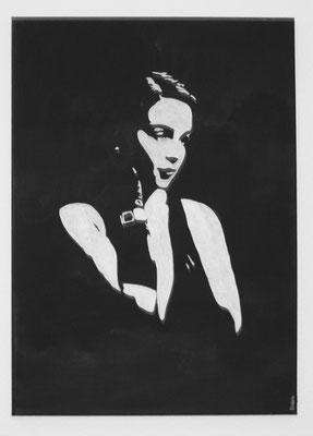 PORTRAIT OF WOMAN NO 5  Acrylpainting on canvas, ca. 50 x 70 cm