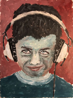 MUSIC IS MY LIFE  Oilpainting on canvas grain, ca. 21 x 28 cm