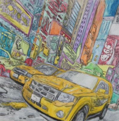 NYC TAXI NO 1  Water-soluble colour wax pastels on canvas grain, ca. 80 x 80 cm