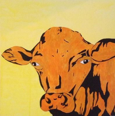 ORANGE CALF ON YELLOW WALL  Acrylpainting on canvas, ca. 70 x 70 cm